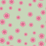 Nahtloser Musterhintergrund eleganter Kirschblüte-Blüte über Grün Stockbilder