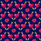Nahtloser Musterhintergrund mit den Herzen durchbohrt durch goldene Pfeile und Rosen Valentinsgruß-Tagesfeiertagstypographie stock abbildung