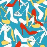 Nahtloser Musterhintergrund mit den Schuhen der Frauen ENV, JPG Lizenzfreie Stockfotos