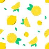 Nahtloser Musterhintergrund mit der Zitrone für Dekoration oder Hintergrund stock abbildung