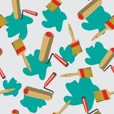 Nahtloser Musterhintergrund mit Malerwerkzeugen im Vektor Lizenzfreie Stockfotos