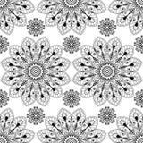 Nahtloser Musterhintergrund mit Schwarzweiss--mehndi Hennastrauchspitze buta Dekorationseinzelteilen in der indischen Art Lizenzfreie Stockfotografie
