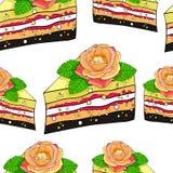 Nahtloser Musterkuchen ein Stück mit einer Rosenblume Vektor illustr Lizenzfreies Stockfoto