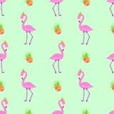 Nahtloser Musterrosa-Flamingoblumenstrauß Lizenzfreies Stockbild