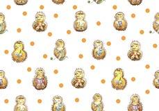 Nahtloser Mustersatz einer Familie von sieben freundlichen Igelen, die Spaß haben Ablesen, strickend und essen, Schlafen und spie lizenzfreie abbildung
