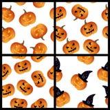 Nahtloser Mustersatz Halloween-Kürbise Stockfotografie