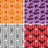 Nahtloser Mustersatz Halloweens Stockfotografie