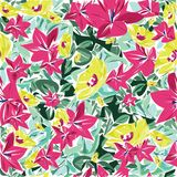 Nahtloser Mustervektor der schönen und bunten Blumen Stockbilder