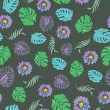 Nahtloser Mustervektor der schönen und bunten tropischen Blumen Stockfoto