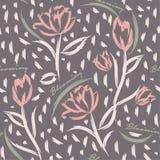 Nahtloser Mustervektorhintergrund mit bunten Tulpen Handbr Stockbilder