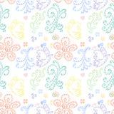 Nahtloser Musterzusammenfassungshintergrund mit Schmetterlingen und Blumen Nahtlose Hintergrundmusterlocken Stockbilder