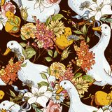 Nahtloser netter Hintergrund mit Enten und Blumen Stockfotografie