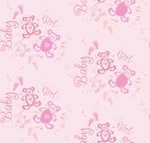 Nahtloser netter rosa Hintergrund für Mädchen mit Bären und Herzen Stockfotos