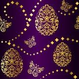 Nahtloser Ostern-Hintergrund im Purpur und im Gold Stockbilder