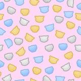 Nahtloser Pastellvektor der Kätzchen und der Welpen flache Farb Lizenzfreie Stockbilder
