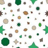 Nahtloser Plan des grünen, braunen Vektors mit Kreisen, Sterne lizenzfreie abbildung