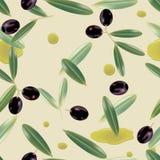 Nahtloser realistischer Olivenölhintergrund Stockfoto