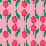 Nahtloser rosa Hintergrund mit roten Tulpen Stockfoto