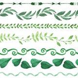 Nahtloser Satz des Aquarells Grenz Weinlese mit Blumen lizenzfreie abbildung