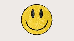 Nahtloser Schleifenhintergrund der gezogenen Animation der Markierungslächelngesichtskarikatur handgemachten Universalweinlesehal stock video footage