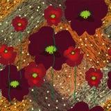 Nahtloser Schmutz streifte diagonales Muster mit Blumenapplikation von roten Mohnblumen Stockbilder