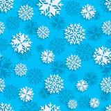 Nahtloser Schneeflockenhintergrund für Winter, Weihnachtsthema und Feiertagskarten Stockbild