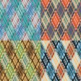 Nahtloser Schottenstoffmustersatz diagonal Kühle Palette Stockfotos