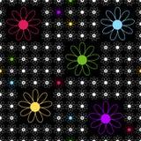 Nahtloser schwarzer mit Blumenhintergrund Lizenzfreies Stockbild