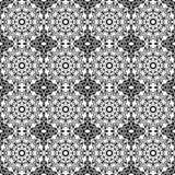 Nahtloser schwarzer u. weißer Kaleidoskop-Damast Stockfotografie