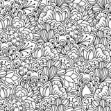 Nahtloser Schwarzweiss-Hintergrund Mit Blumen, ethnisch, Hand gezeichnete Elemente für Design Stockbilder