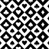 Nahtloser Schwarzweiss-Hintergrund mit Klagen von Spielkarten Vektor stock abbildung