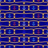 Nahtloser themenorientierter Vektor-nautischhintergrund oder Tapete Tileable stock abbildung
