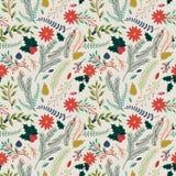 Nahtloser Tileable-Weihnachtsfeiertags-Blumenhintergrund-Muster Stockfoto