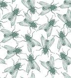 Nahtloser Vektor fliegt Muster in gravierter Art Lizenzfreies Stockbild