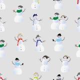 Nahtloser Vektordruck der kühlen Hippie-Schneemänner Stockfotografie