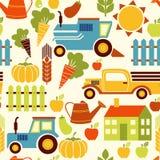 Nahtloser Vektorhintergrund der organischen Landwirtschaft Lizenzfreies Stockfoto