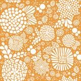Nahtloser Vektorhintergrund des Blumenzusammenfassungsmosaiks Weiße Blumen und Blätter auf einem gelben Hintergrund des Senfes Gr lizenzfreie abbildung