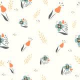 Nahtloser Vektorhintergrund des netten Blumenfrühlinges. Stockfotos