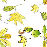 Nahtloser vektorhintergrund mit Blättern. Stockbilder