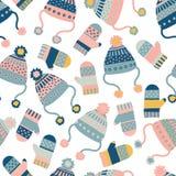 Nahtloser Vektorhintergrund mit Hüten und Handschuhen Musterfliese mit gestrickter Winterkleidung im Rosa und Blaues Winterabnutz vektor abbildung
