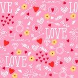 Nahtloser Vektorhintergrund mit Herzen, Pfeile, Ringellocken, Blumen, Liebe Illustration für Gewebe, scrapbooking Papier und ande lizenzfreie abbildung