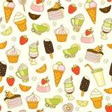 Nahtloser Vektorlebensmittelhintergrund mit Bonbons, Eiscreme, Kuchen und Kaffee Lizenzfreie Stockfotografie