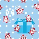 Nahtloser Weihnachtsmann mit einem Geschenkhintergrund Lizenzfreie Stockfotografie