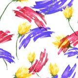 Nahtloser Weinlesehintergrund des Aquarells mit einem Blumenmuster, eine Niederlassung einer rosafarbenen Blume, Tulpe, Blätter,  vektor abbildung