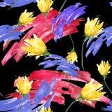 Nahtloser Weinlesehintergrund des Aquarells mit einem Blumenmuster, eine Niederlassung einer rosafarbenen Blume, Tulpe, Blätter,  lizenzfreie abbildung