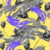 Nahtloser Weinlesehintergrund des Aquarells mit einem Blumenmuster, eine Niederlassung einer rosafarbenen Blume, Tulpe, Blätter,  stock abbildung
