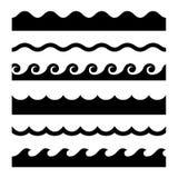 Nahtloser Wellen-Muster-Satz Rand der Farbband-, Lorbeer- und Eichenblätter Stockfotografie