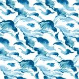 Nahtloser Wellenhintergrund des Aquarells Stockfotos