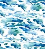 Nahtloser Wellenhintergrund des Aquarells Stockbild