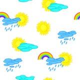 Nahtloser Wetterkarikaturhintergrund Lizenzfreies Stockfoto